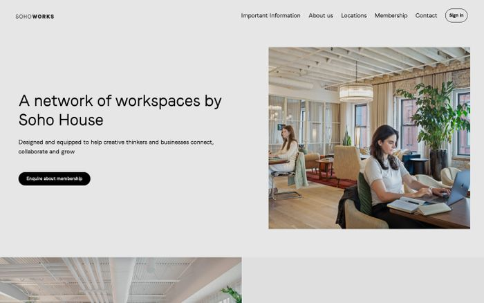 Screenshot of Soho works website