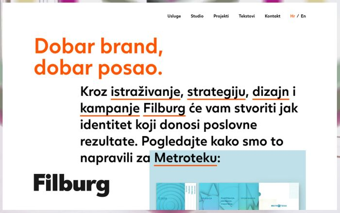Screenshot of Filburg – studio za branding, dizajn i komunikacije