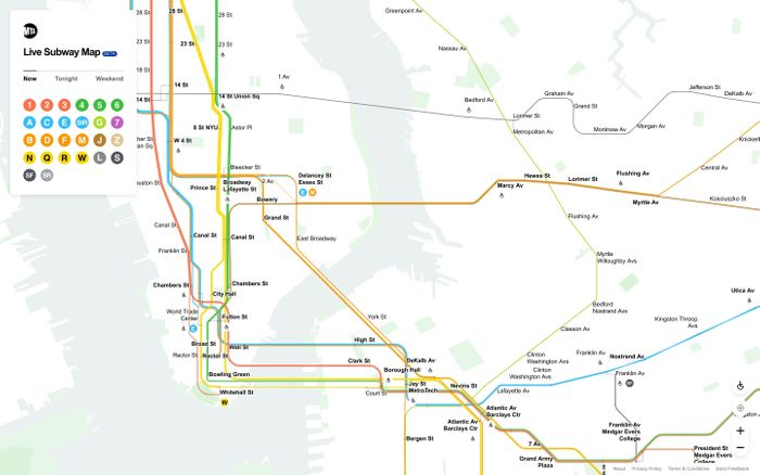 Screenshot of MTA Live Subway Map