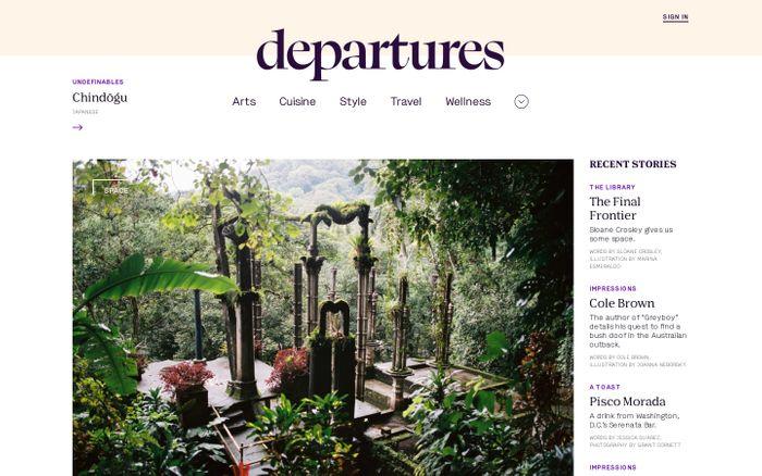 Screenshot of Departures website