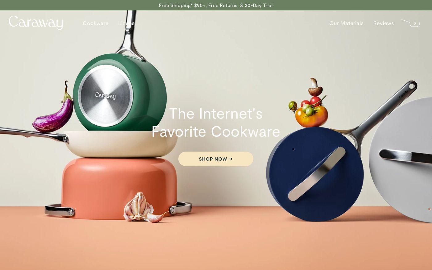 Screenshot of Caraway website