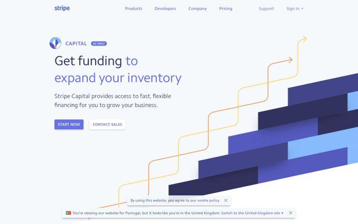 Screenshot of Stripe Capital: Flexible financing in as little as one day website