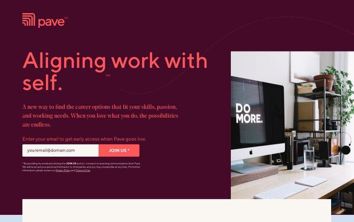 Screenshot of Pave website