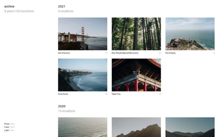 Screenshot of Archive website