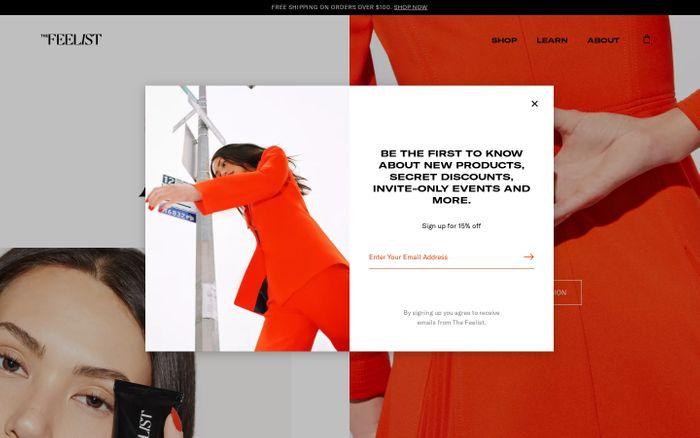 Screenshot of The Feelist website