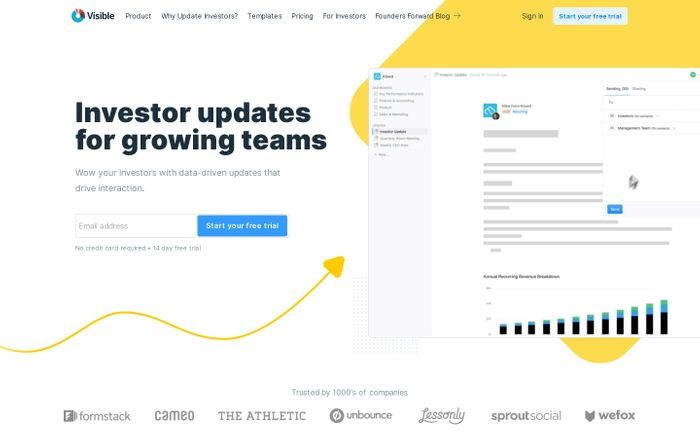 Screenshot of Investor Updates and Investor Reporting - Easy & Professional
