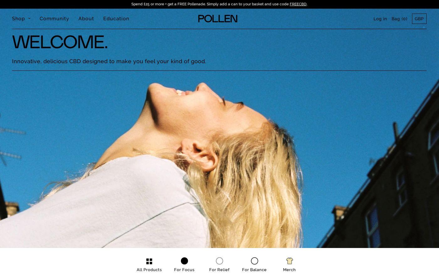 Screenshot of Pollen website