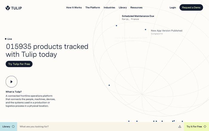 Screenshot of Tulip website