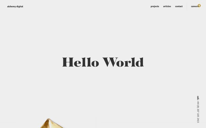 Screenshot of Web Design London • Hello World • Alchemy Digital