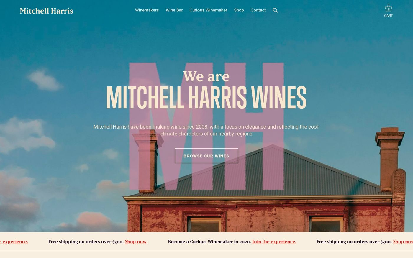 Screenshot of Mitchell Harris Wines website