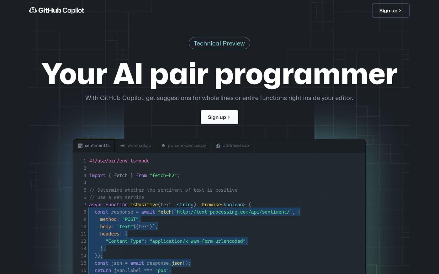 Screenshot of GitHub Copilot website