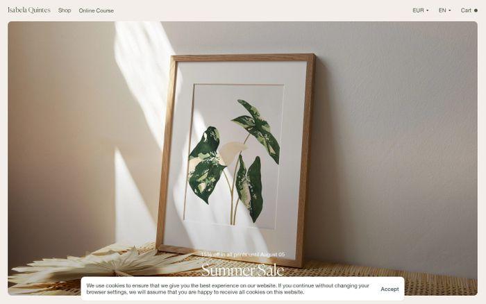 Screenshot of Isabela Quintes website