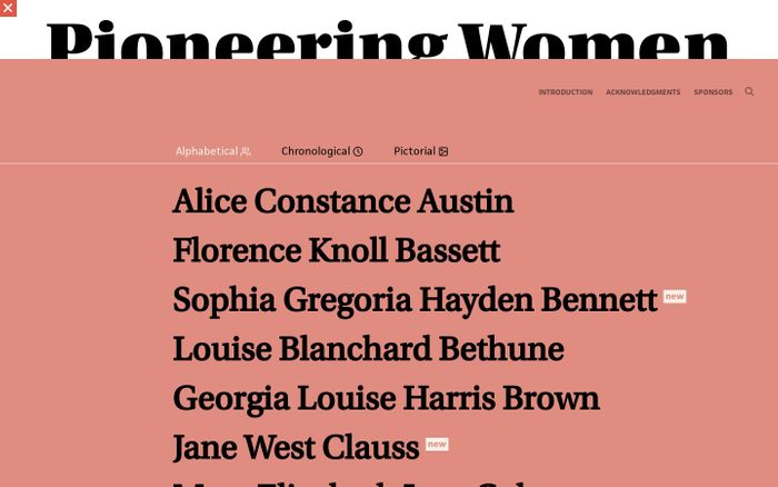 Screenshot of Pioneering Women of American Architecture website
