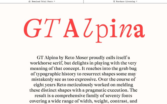 Screenshot of GT Alpina website
