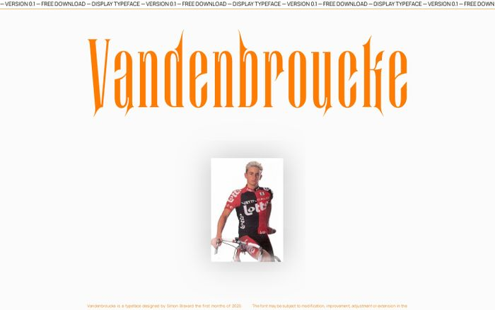 Screenshot of Vandenbroucke typeface website