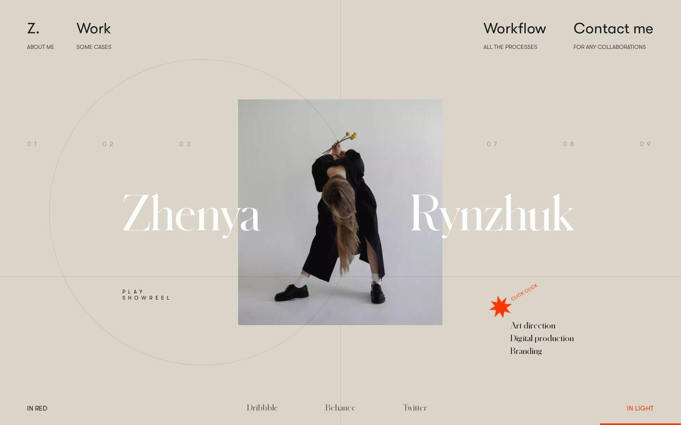 Screenshot of Zhenya Rynzhuk website