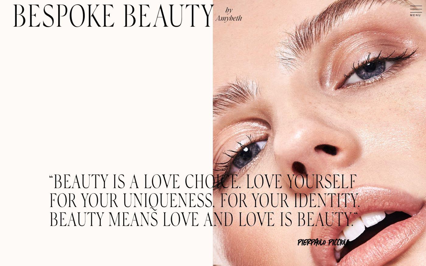 Screenshot of Bespoke beauty website