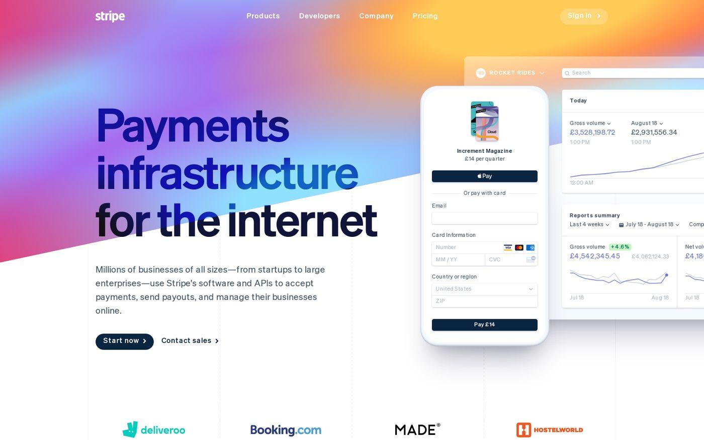 Screenshot of Stripe website