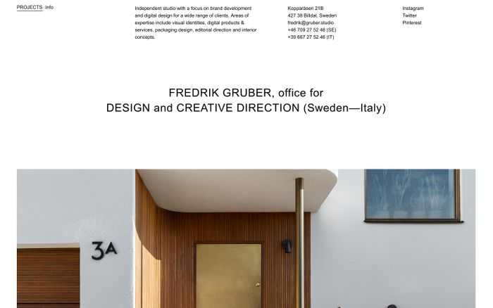 Screenshot of Fredrik Gruber — Office for Design & Creative Direction