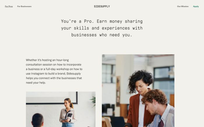 Screenshot of Make money helping businesses — Sidesupply
