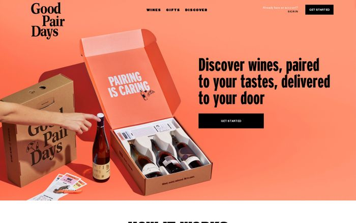 Screenshot of Good Pair Days | Discover Wines Paired To Your Tastes