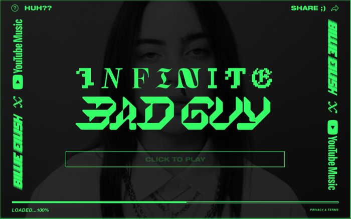 Screenshot of Billie Eilish: Infinite Bad Guy website