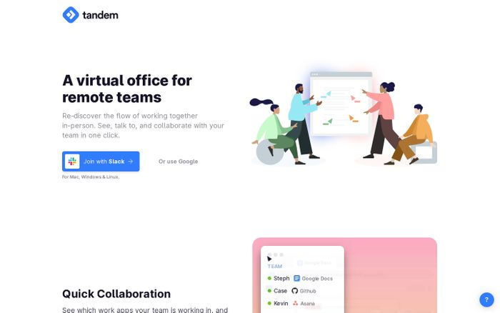 Screenshot of Tandem | A virtual office for remote teams
