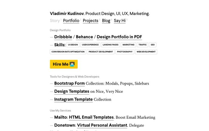 Screenshot of Product Designer Portfolio (UI, UX, Marketing) | Vladimir Kudinov
