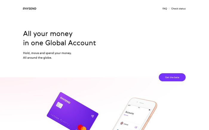 Screenshot of Paysend · All your money in one Global Account