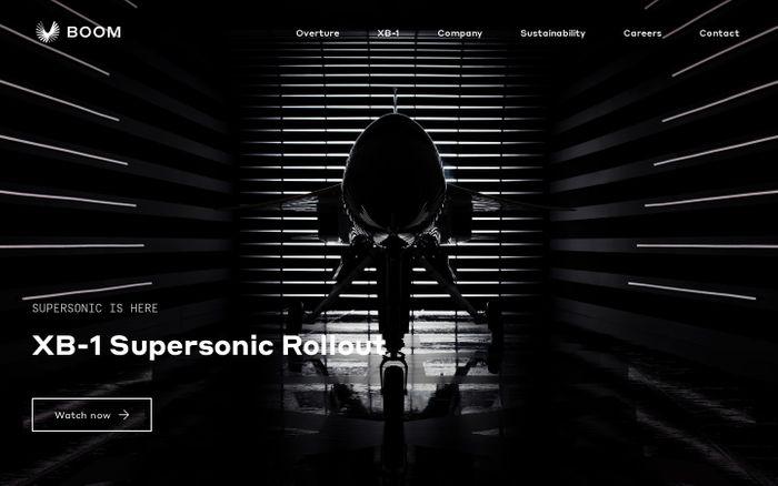 Screenshot of Boom - Supersonic Passenger Airplanes website