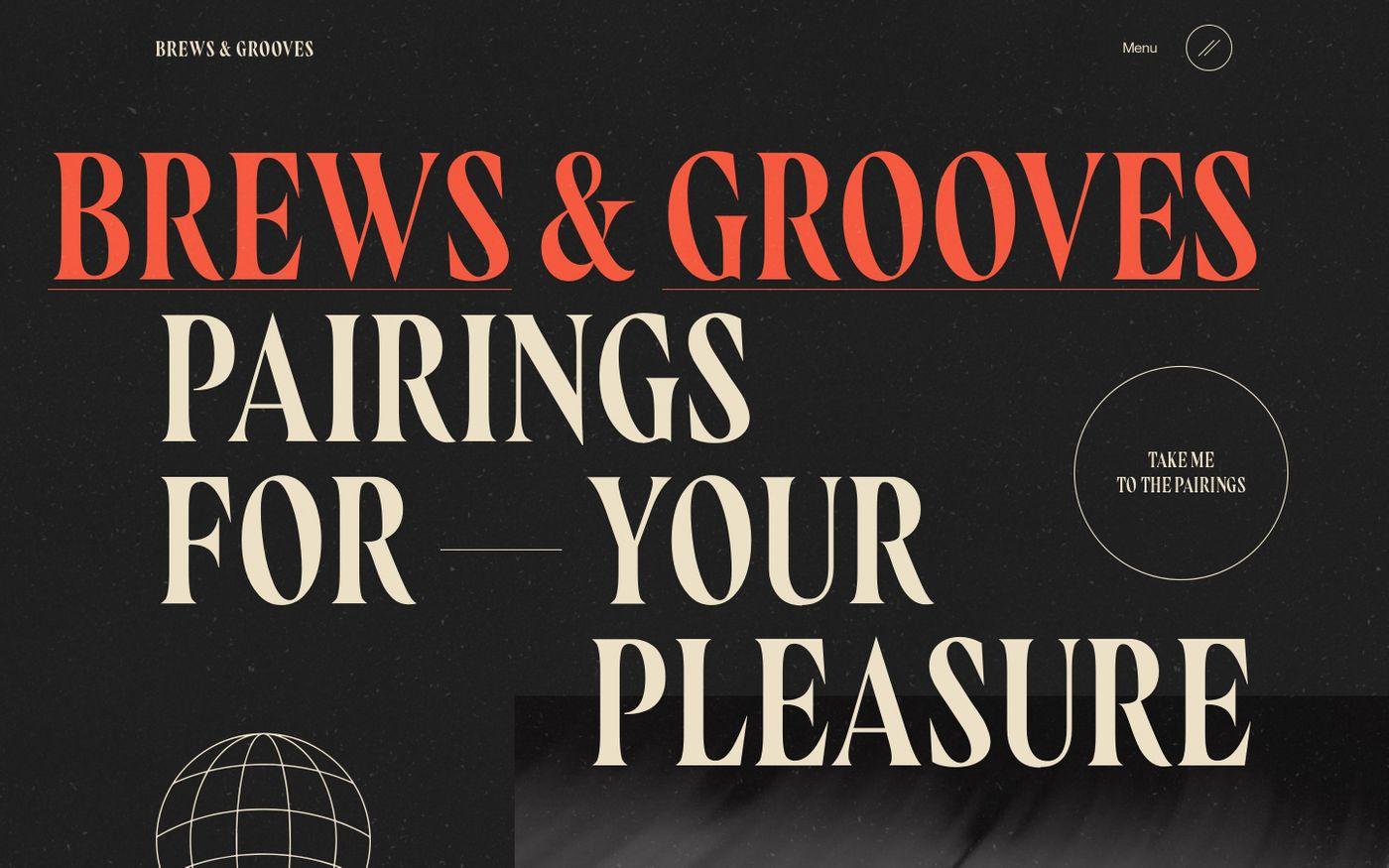 Screenshot of Brews & Grooves website
