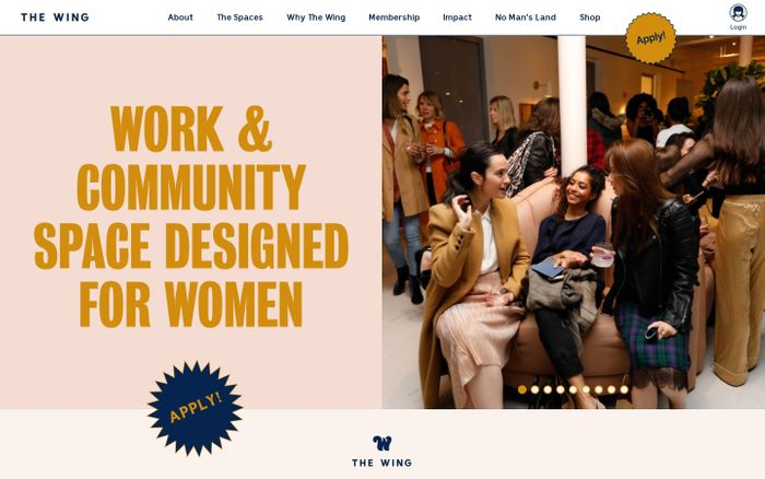 Screenshot of The Wing | Work and Community Spaces Designed for Women