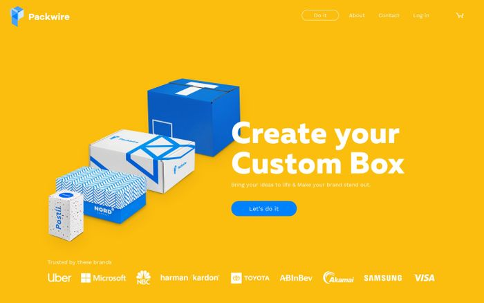 Screenshot of Custom Boxes, Create your own Packaging | Packwire website
