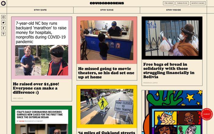 Screenshot of COVID GOOD NEWS