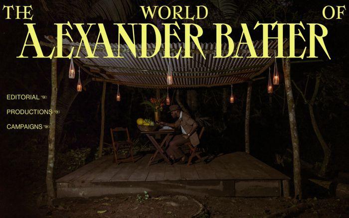Screenshot of Alexander Bather website