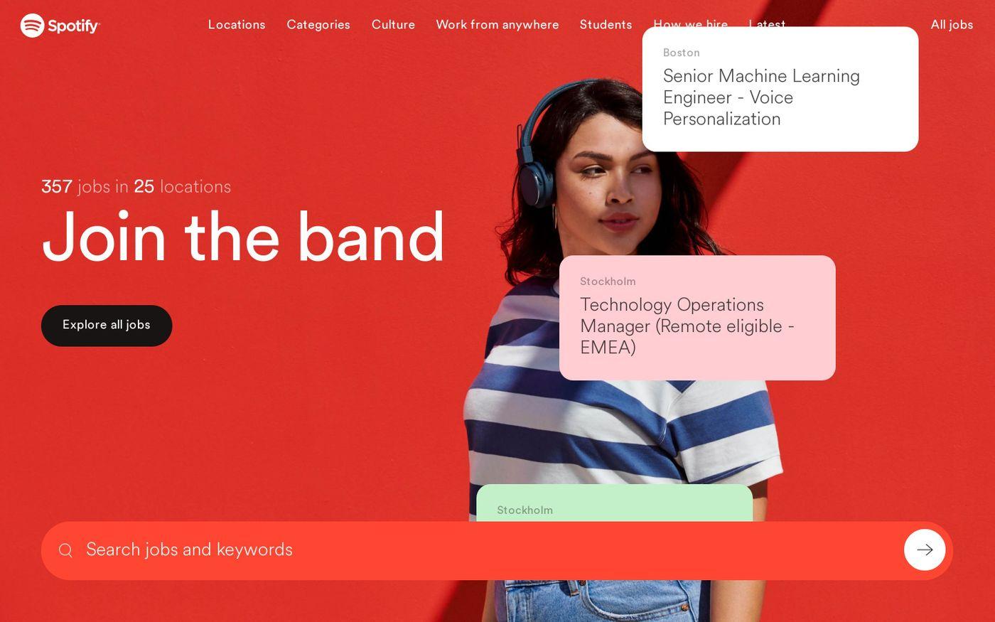Screenshot of Spotify jobs website