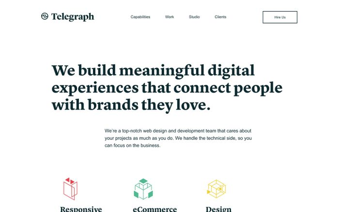 Screenshot of Telegraph | A top-notch web design and development team that cares