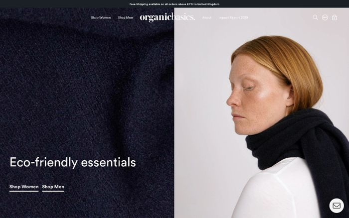 Screenshot of Organic Basics website