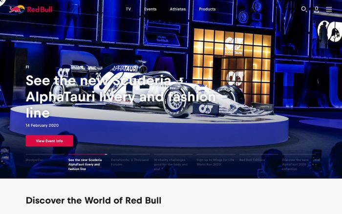 Screenshot of RedBull website