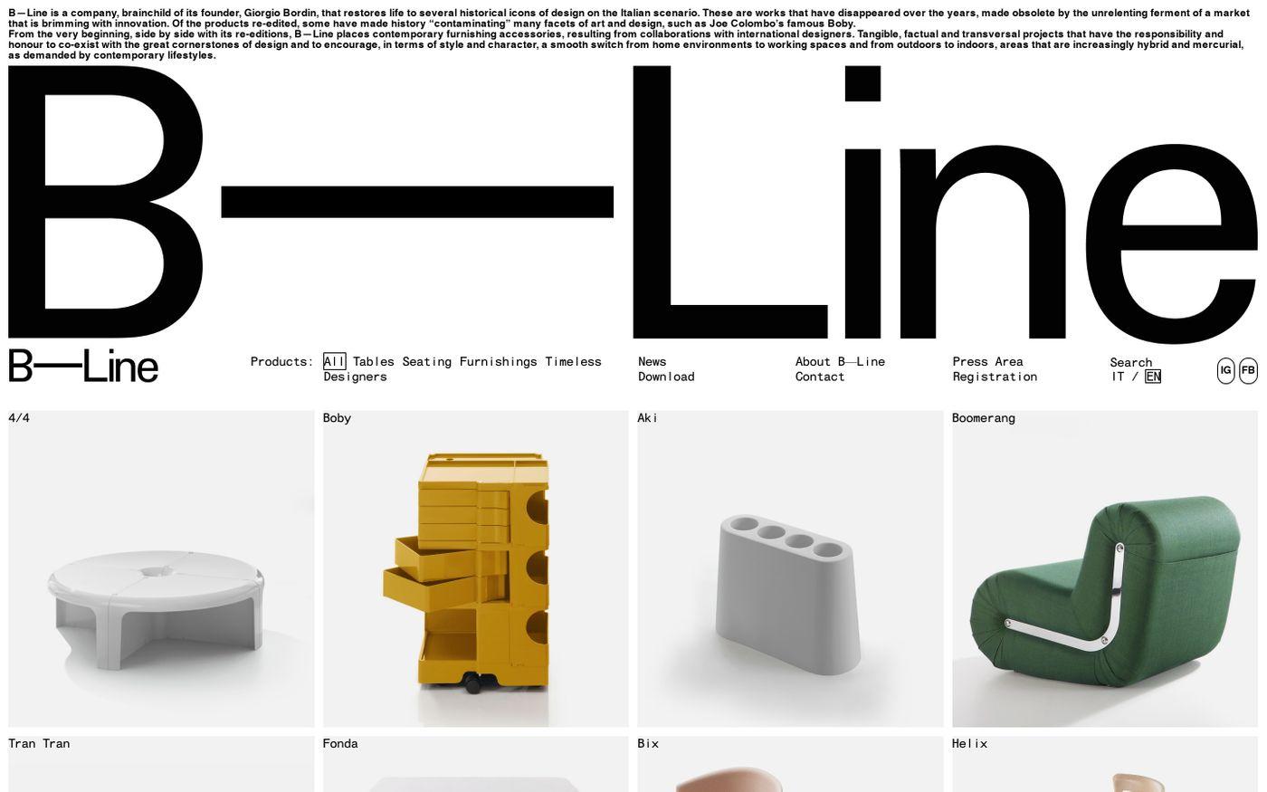 Screenshot of B—Line website