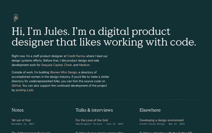 Screenshot of Jules Forrest website
