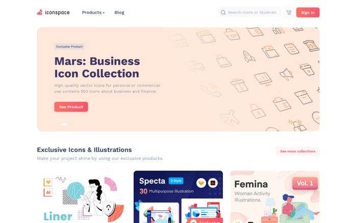 Screenshot of Iconspace: All Creative Resources for Designers and Developers