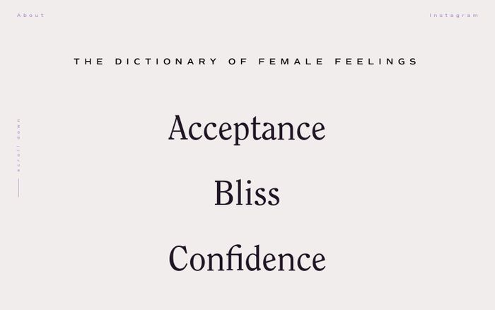 Screenshot of The Dictionary of Female Feelings