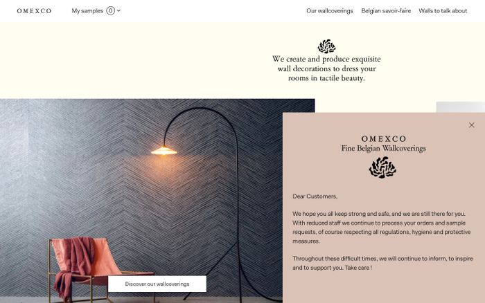 Screenshot of Omexco - Fine Belgian Wallcoverings