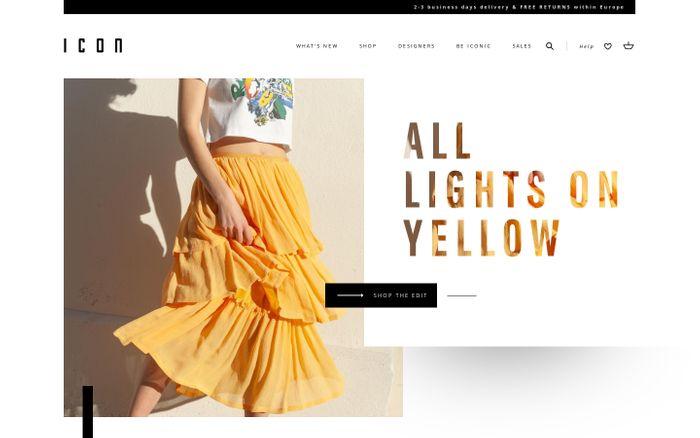 Screenshot of ICON I Shop women's luxury designer fashion online.