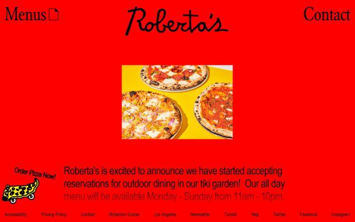 Screenshot of Roberta's Pizza website