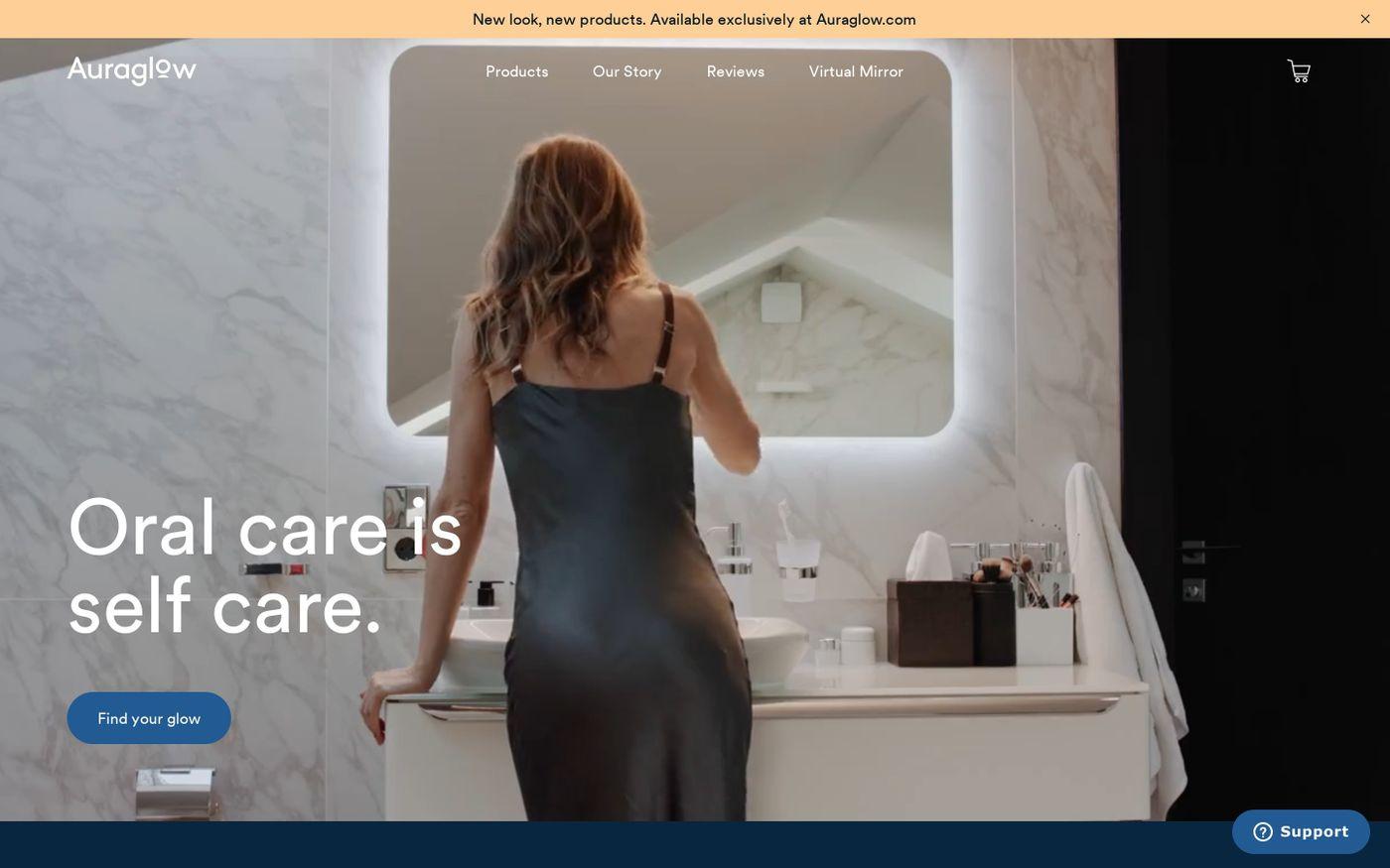 Screenshot of Auraglow website