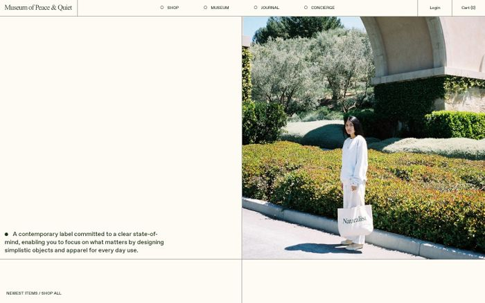 Screenshot of Museum of Peace & Quiet website