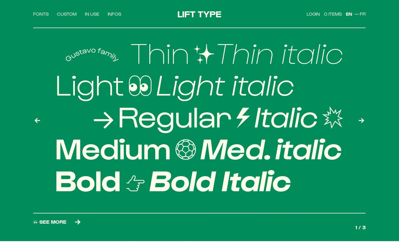 Screenshot of Lift Type — A french digital type foundry website