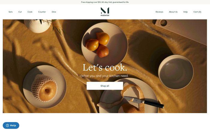 Screenshot of Material website